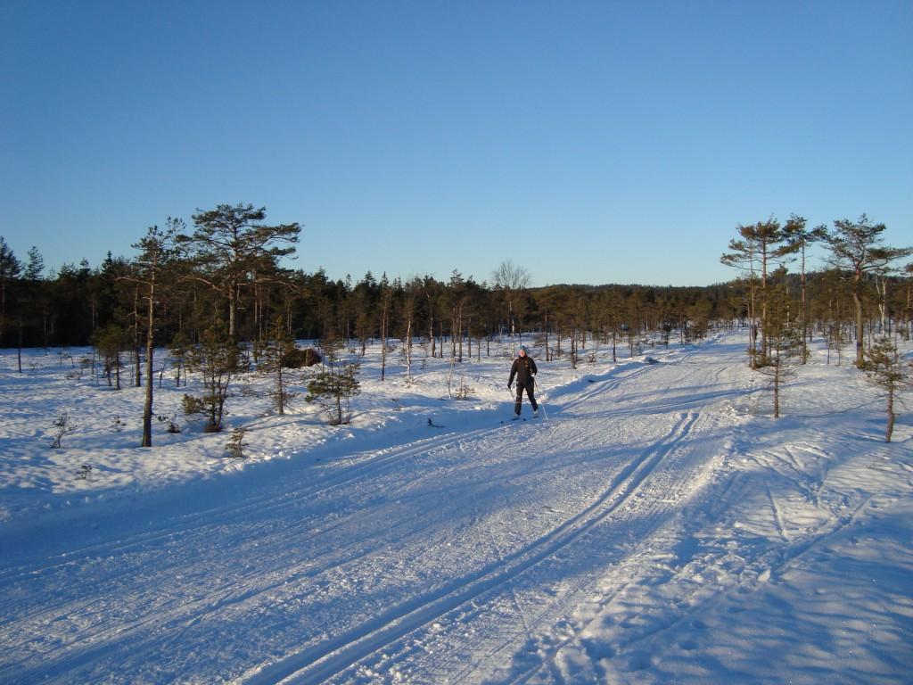 Malene øver sit glid på ski