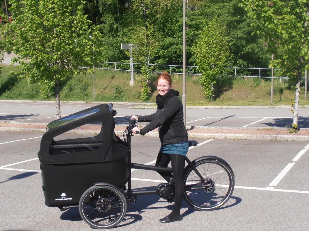Malenes første tur på den nye cykel